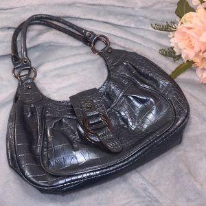 MONDANI Metallic Blue Croc Embossed Bag
